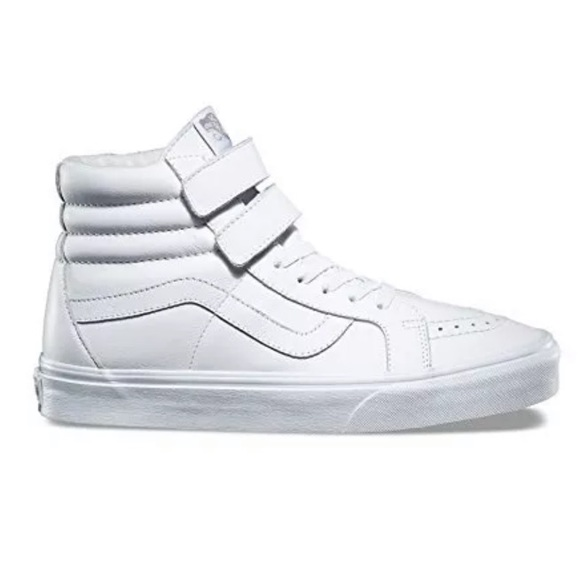 45e5485517a Vans sk8 hi leather white mono sneaker shoes new